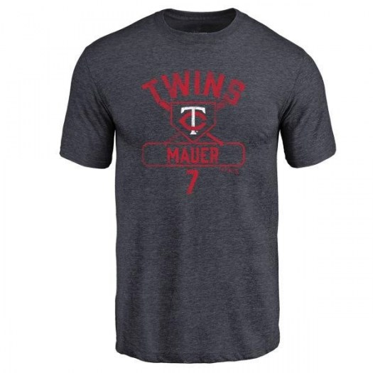 Joe Mauer Minnesota Twins Men's Navy Branded Base Runner Tri-Blend T-Shirt -
